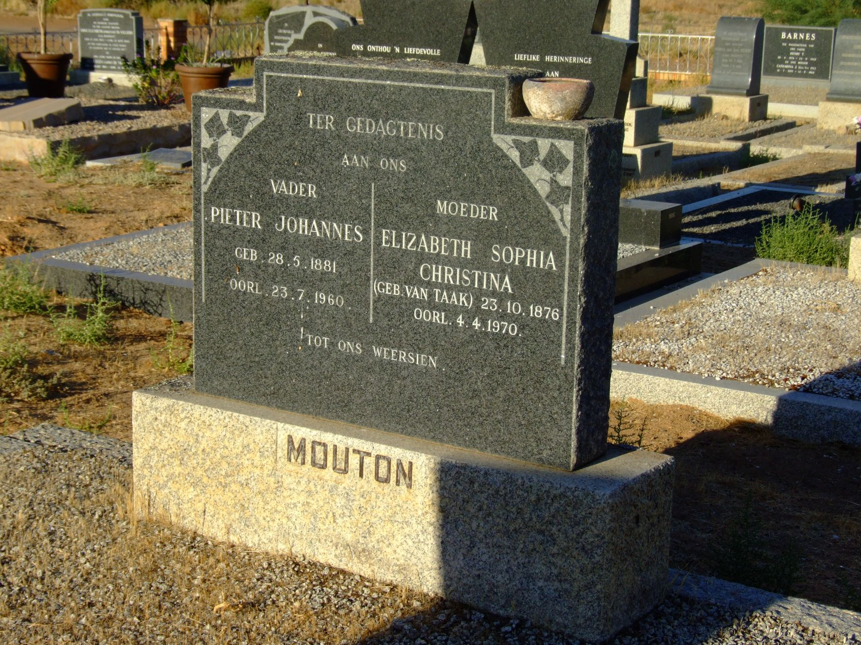 Mouton, Pieter Johannes and Mouton, Elizabeth Sophia Christina (