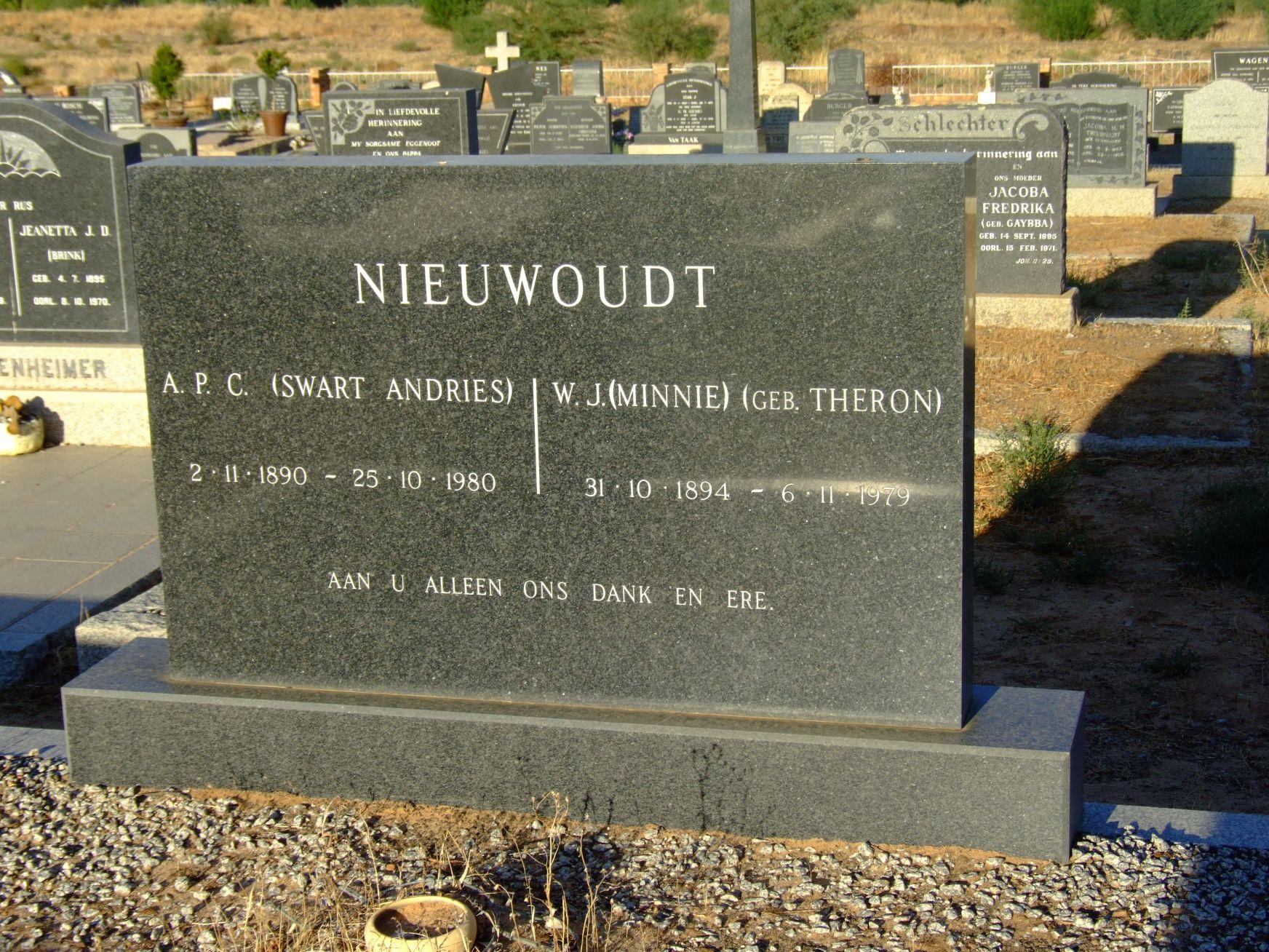 Nieuwoudt, A. P. C. + Nieuwoudt, W. J.