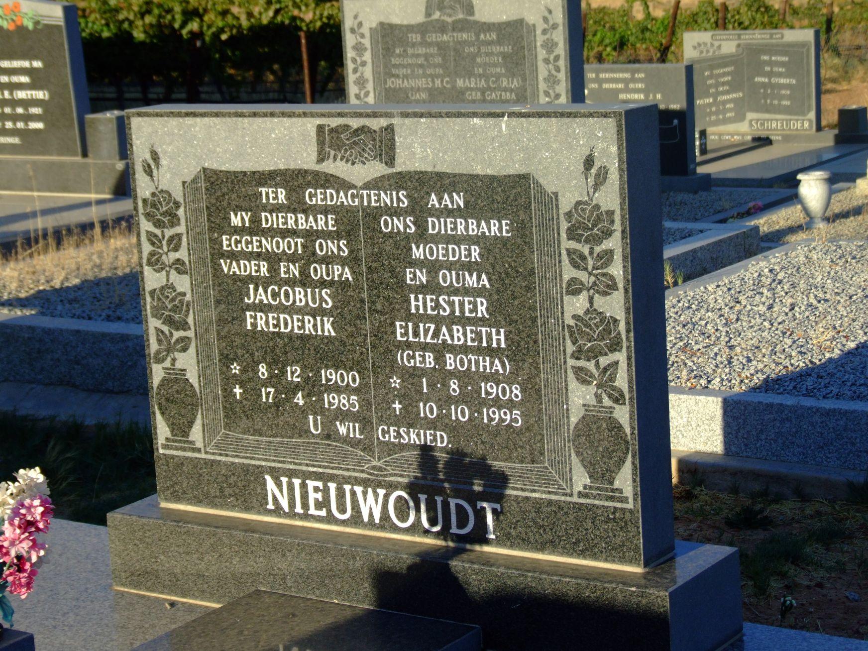 Nieuwoudt, Jacobus Frederik + Nieuwoudt, Hester Elizabeth