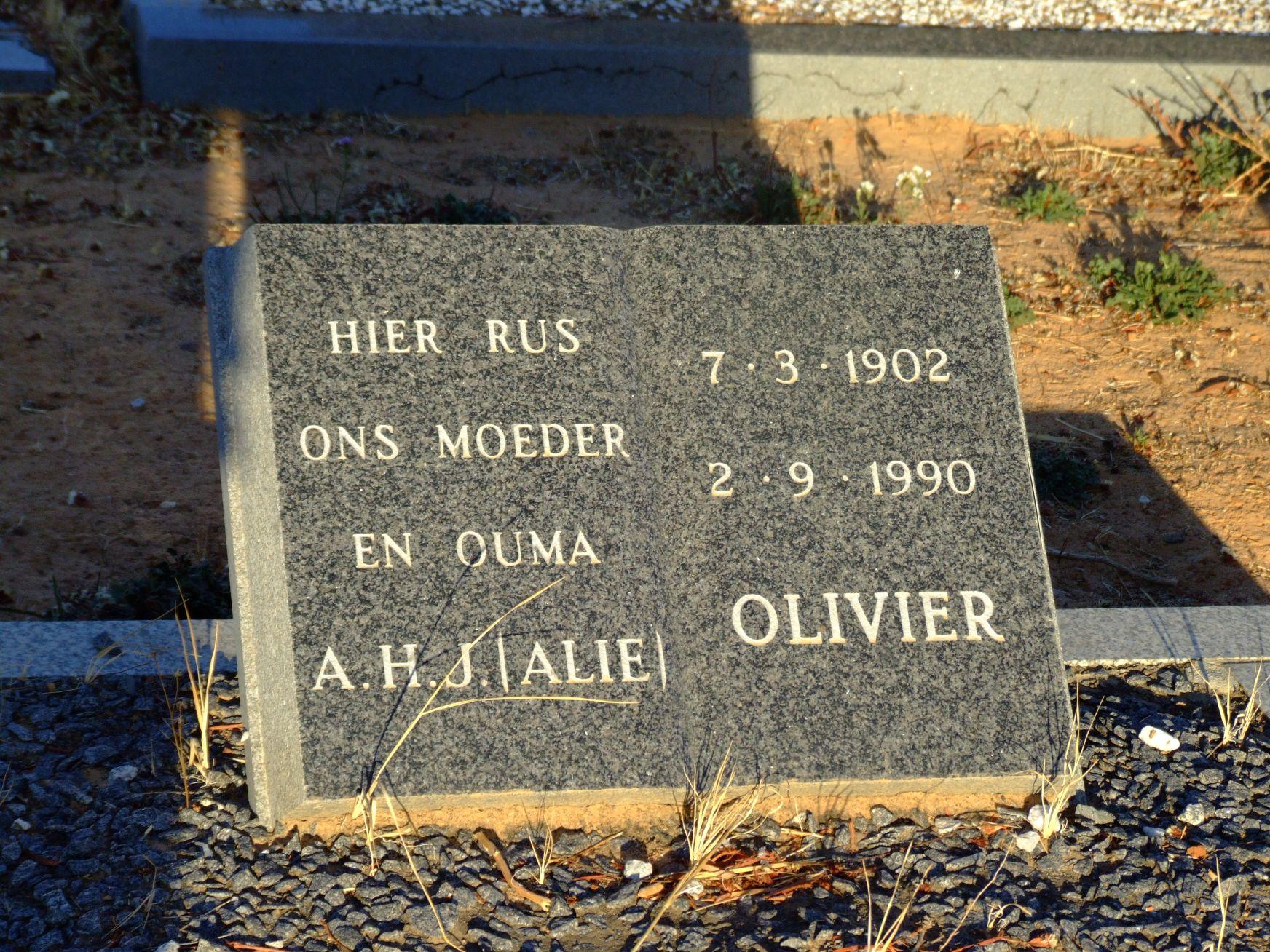 Olivier, A J H (Alie)