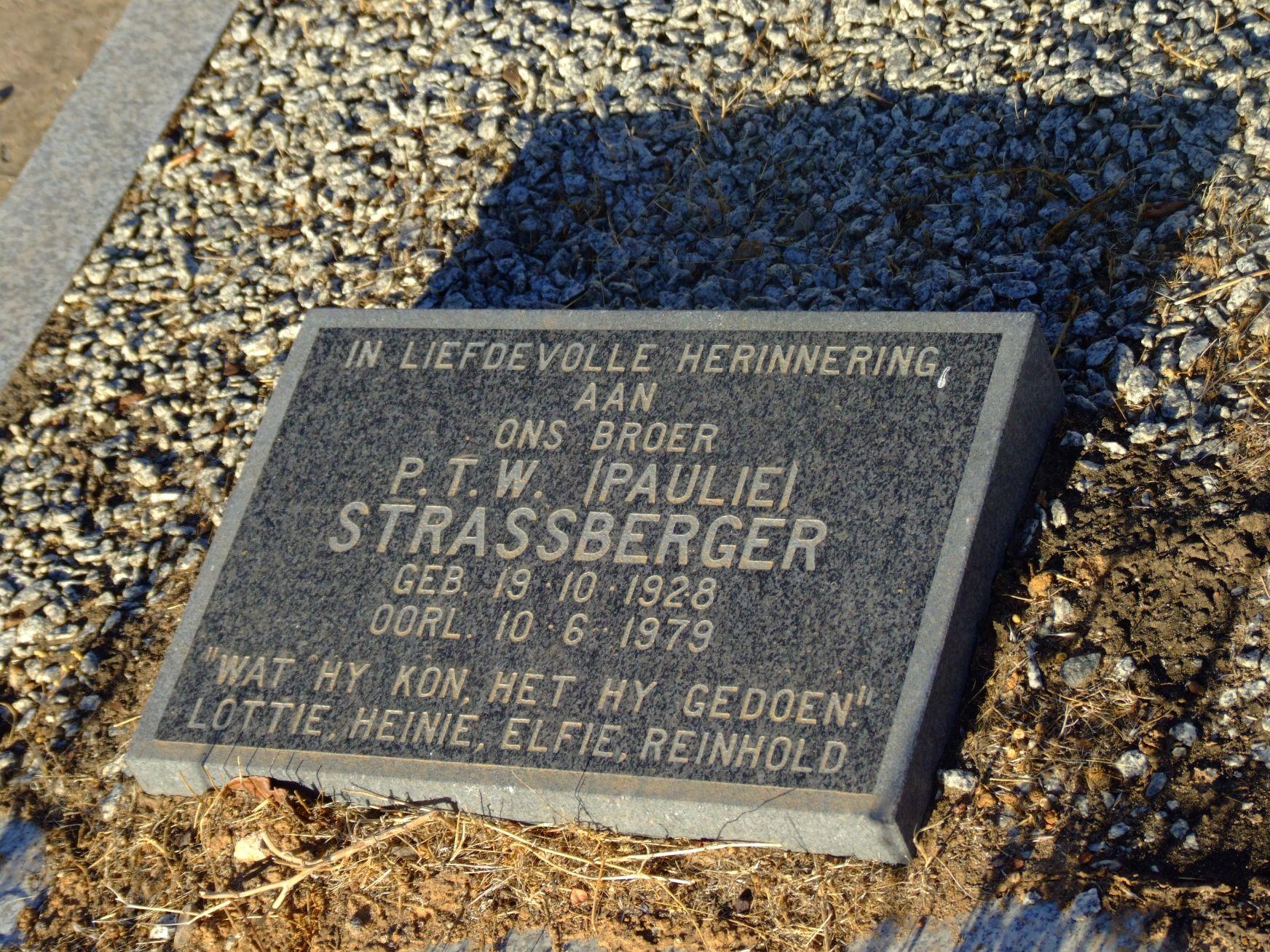 Strassberger, P.T.W. (Paulie)