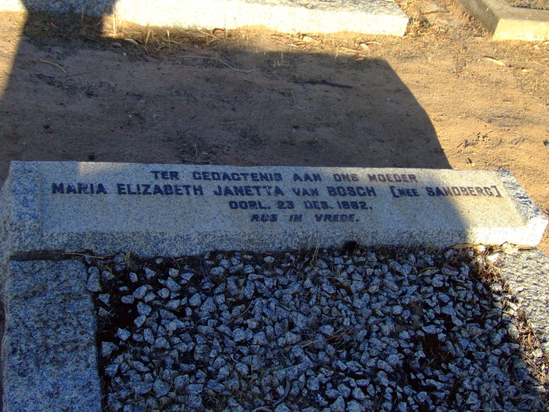 Van Bosch, Maria Elizabeth Janetta