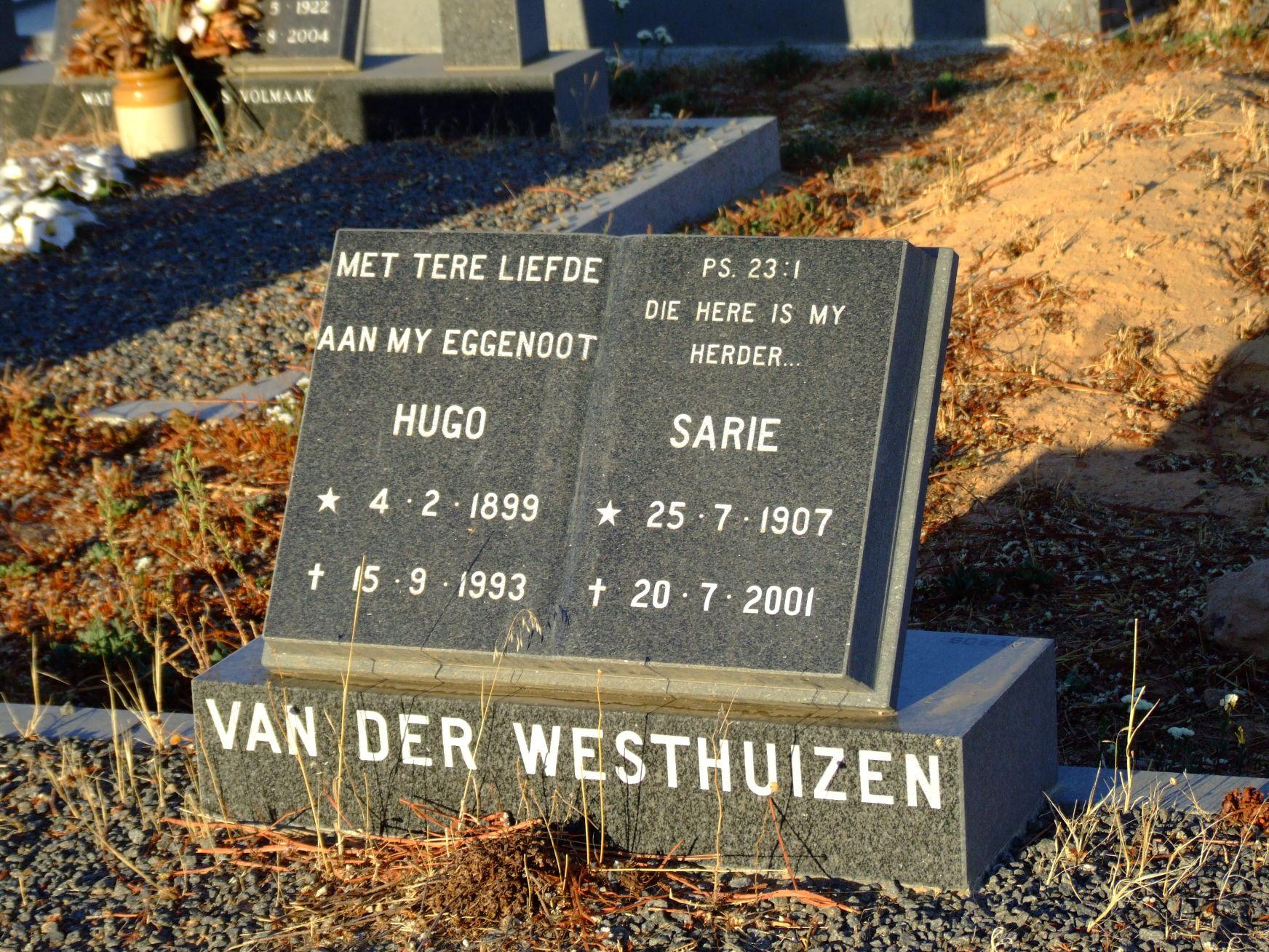 van der Westhuizen, Hugo and van der Westhuizen, Sarie