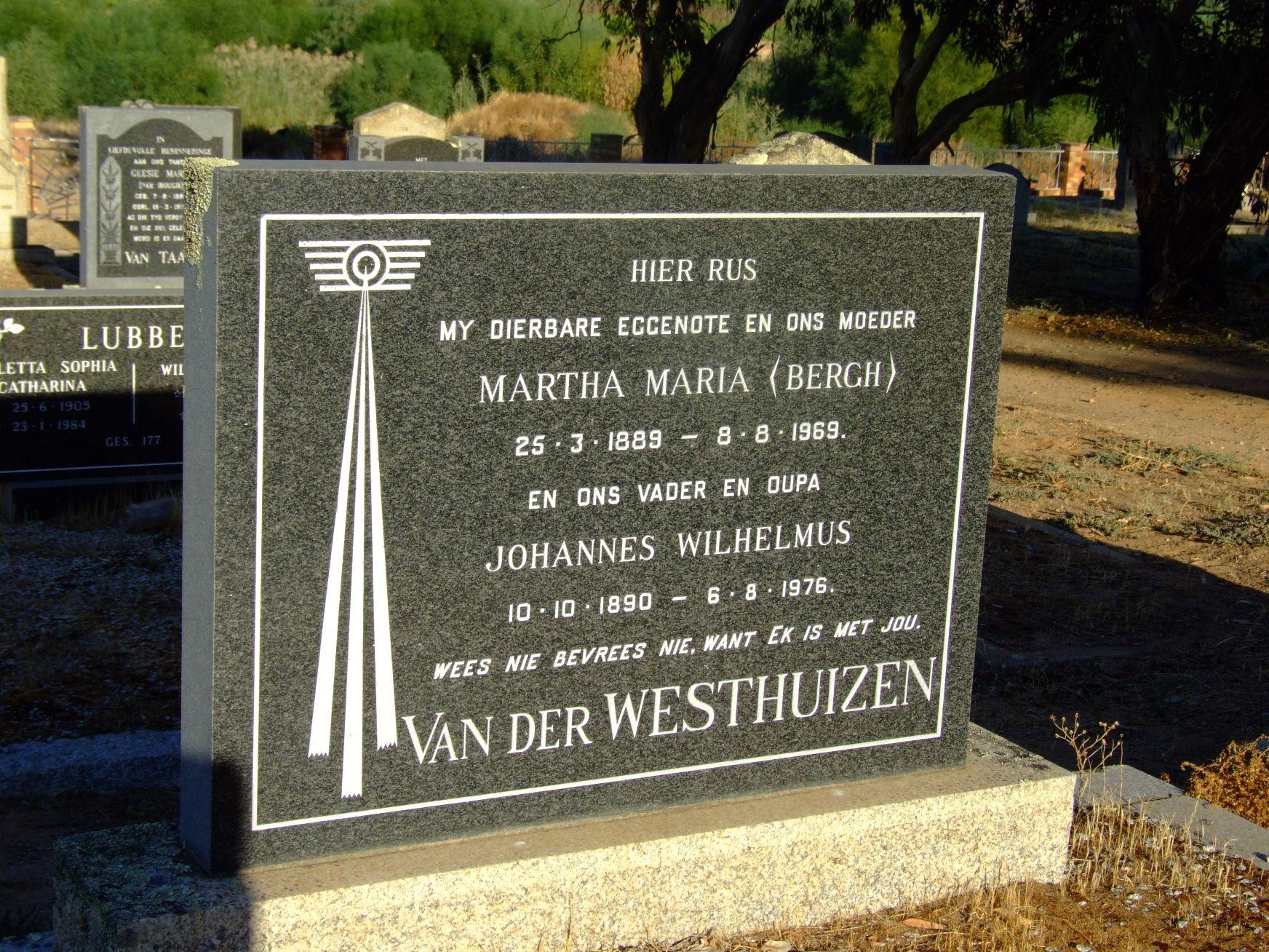 van der Westhuizen, Martha Maria (nee Bergh) and Van der Westhui