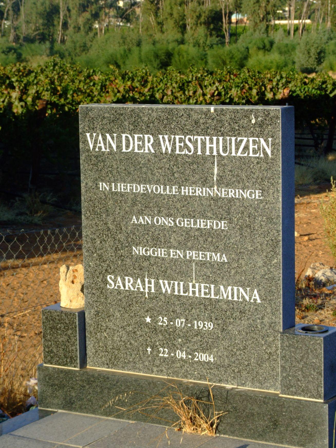van der Westhuizen, Sarah Wilhelmina