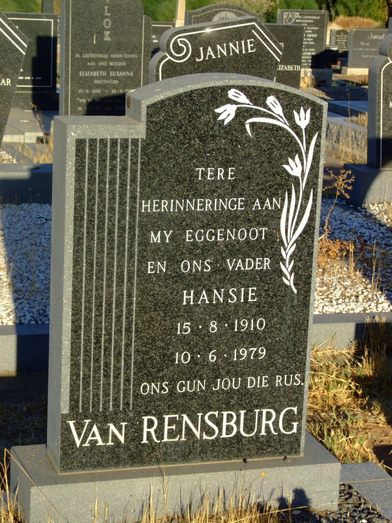 Van Rensburg, Hansie