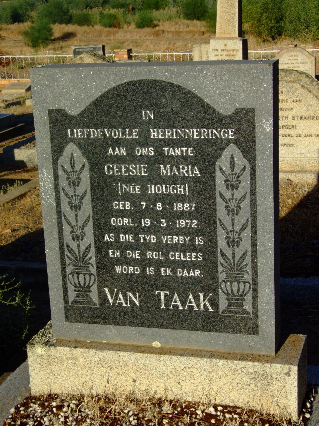 Van Taak, Geesie Maria
