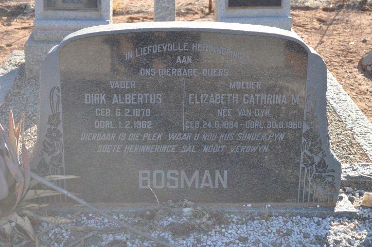 Bosman, Dirk Albertus + Elizabeth Catherina nee Van Dyk