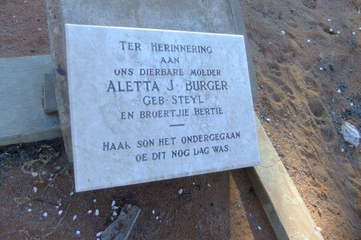 Burger, Aletta J. gebore Steyl