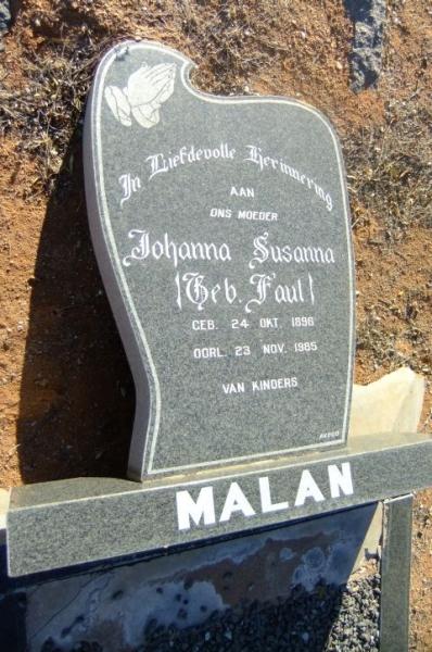 Malan, Johanna Susanna gebore Faul