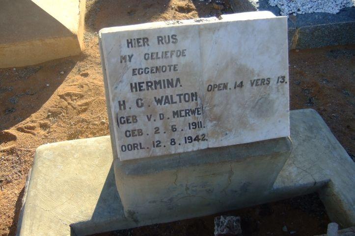 Walton, Hermina gebore Van der Merwe