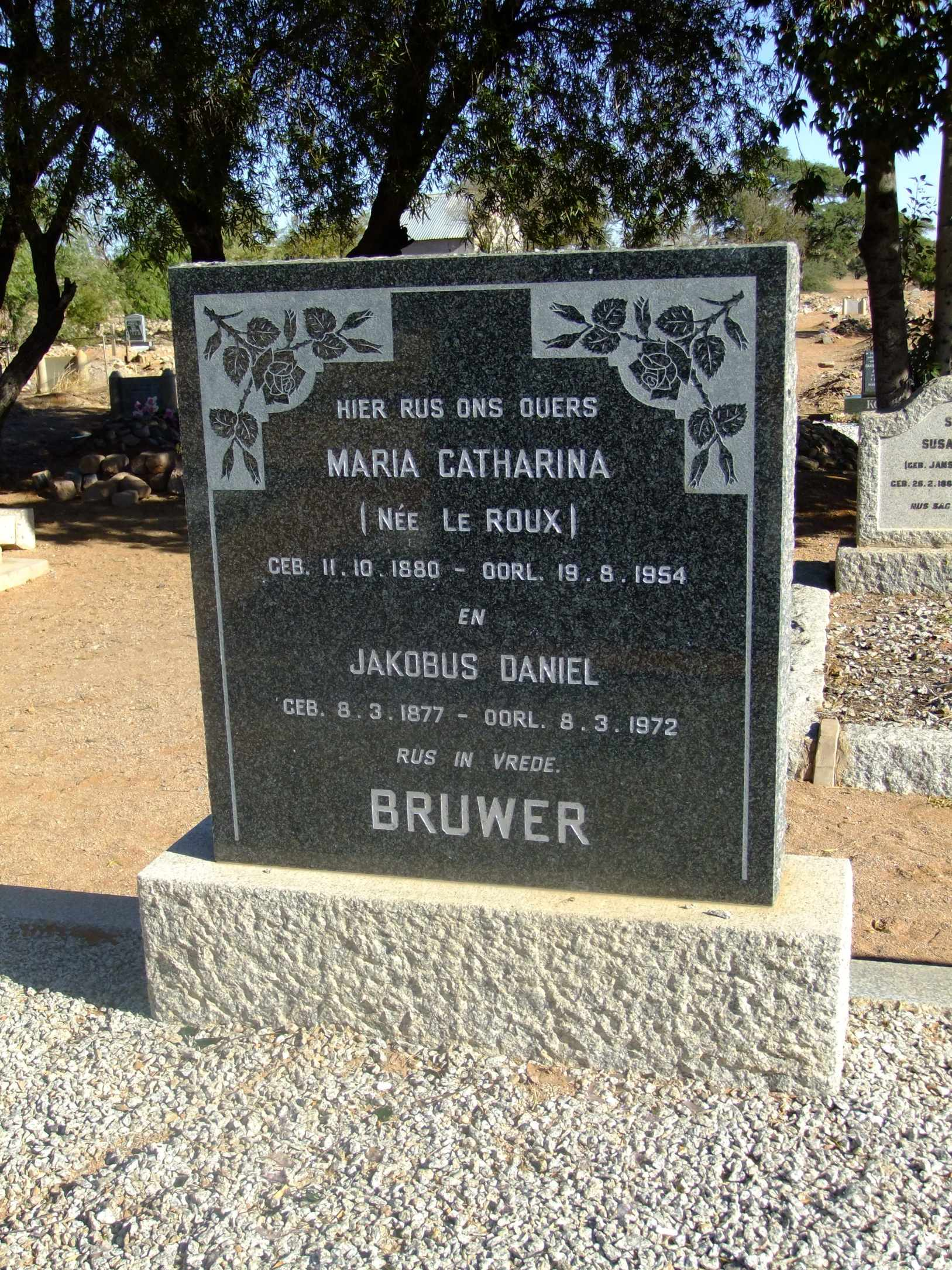 Bruwer, Maria Catharina nee Le Roux and Jakobus