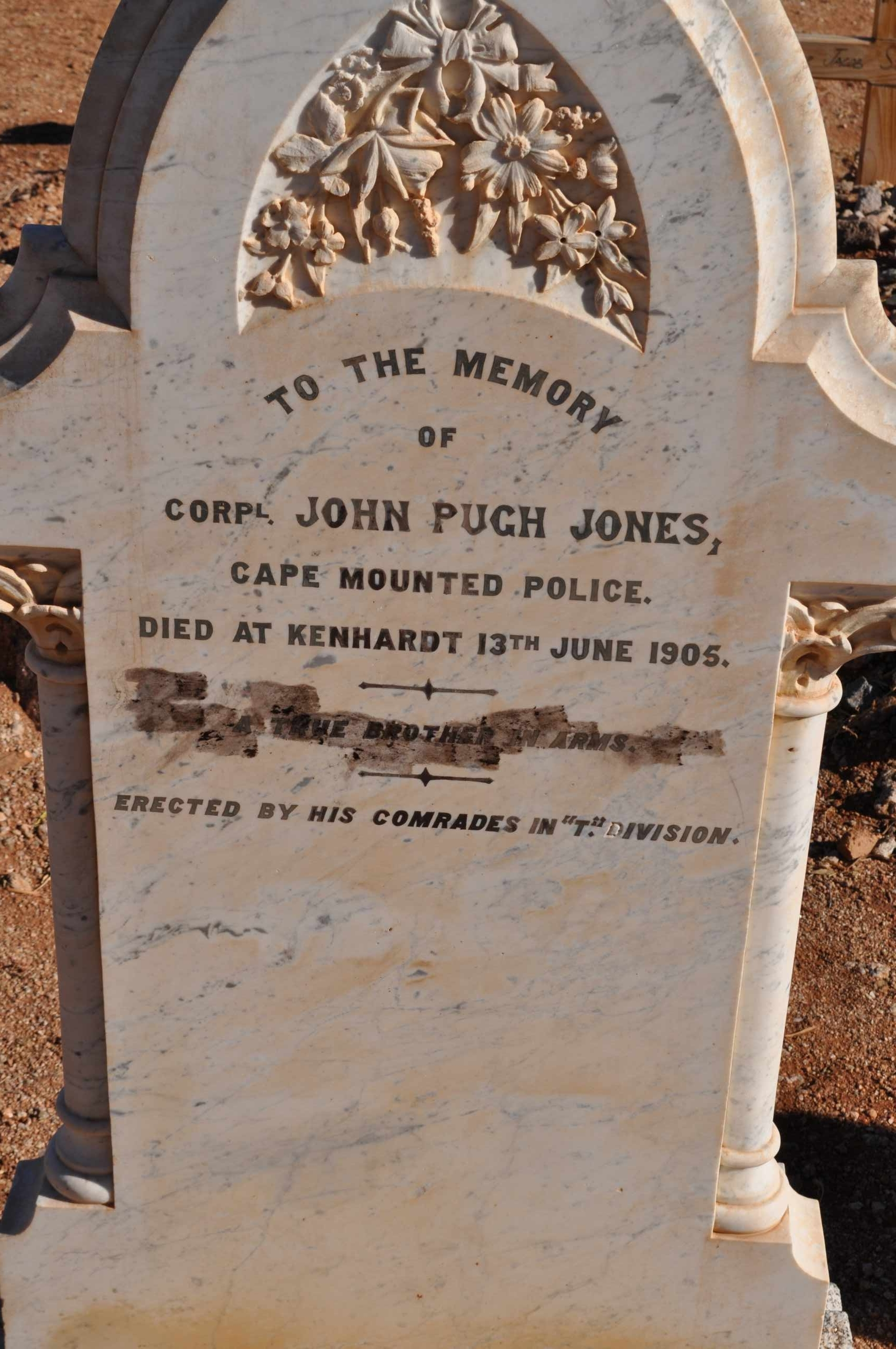 Jones, John Pugh died 13 June 1905 Cape Mounted Police