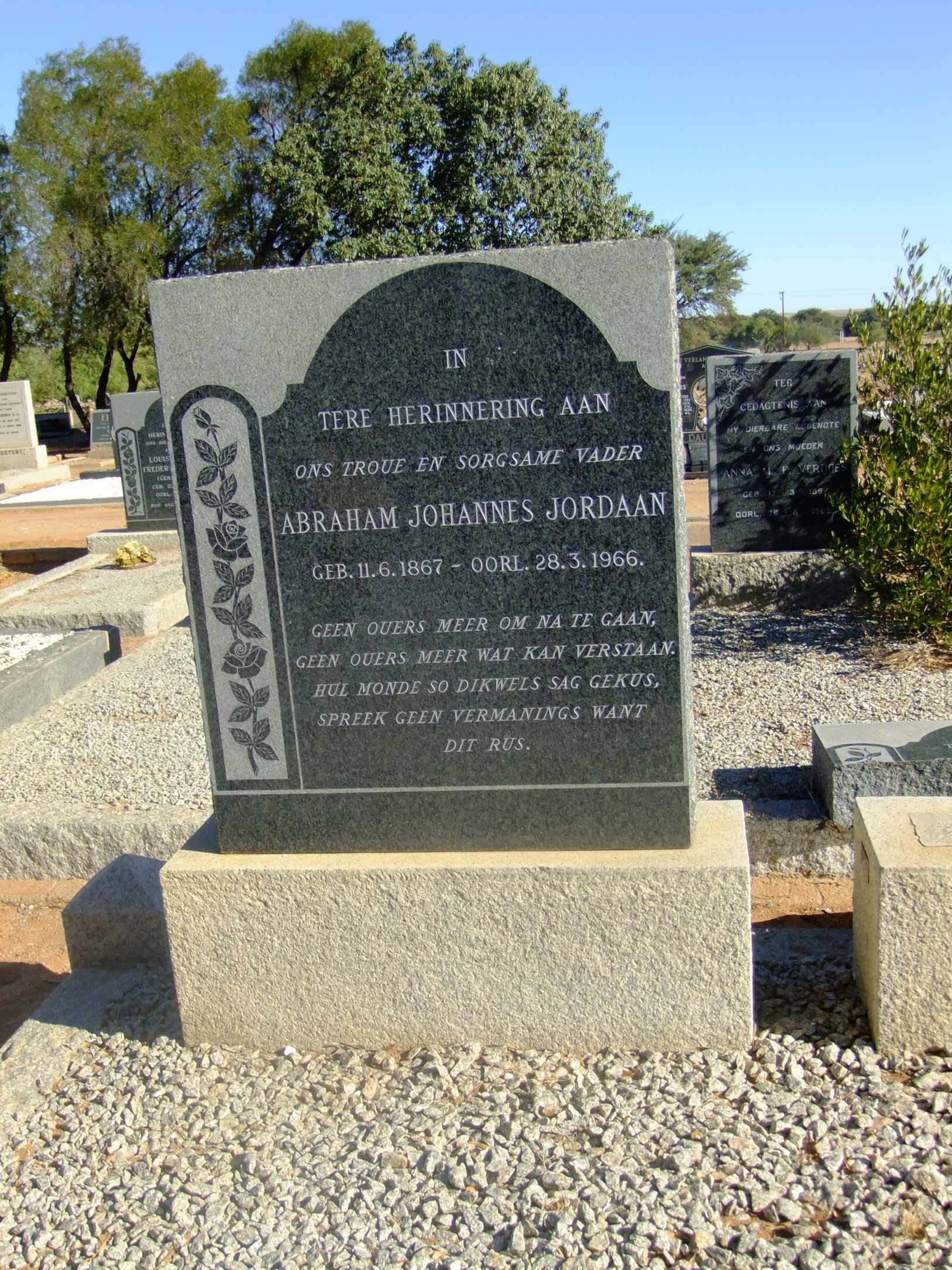 Jordaan, Abraham Johannes born 11 June 1867 died 28 March 1966
