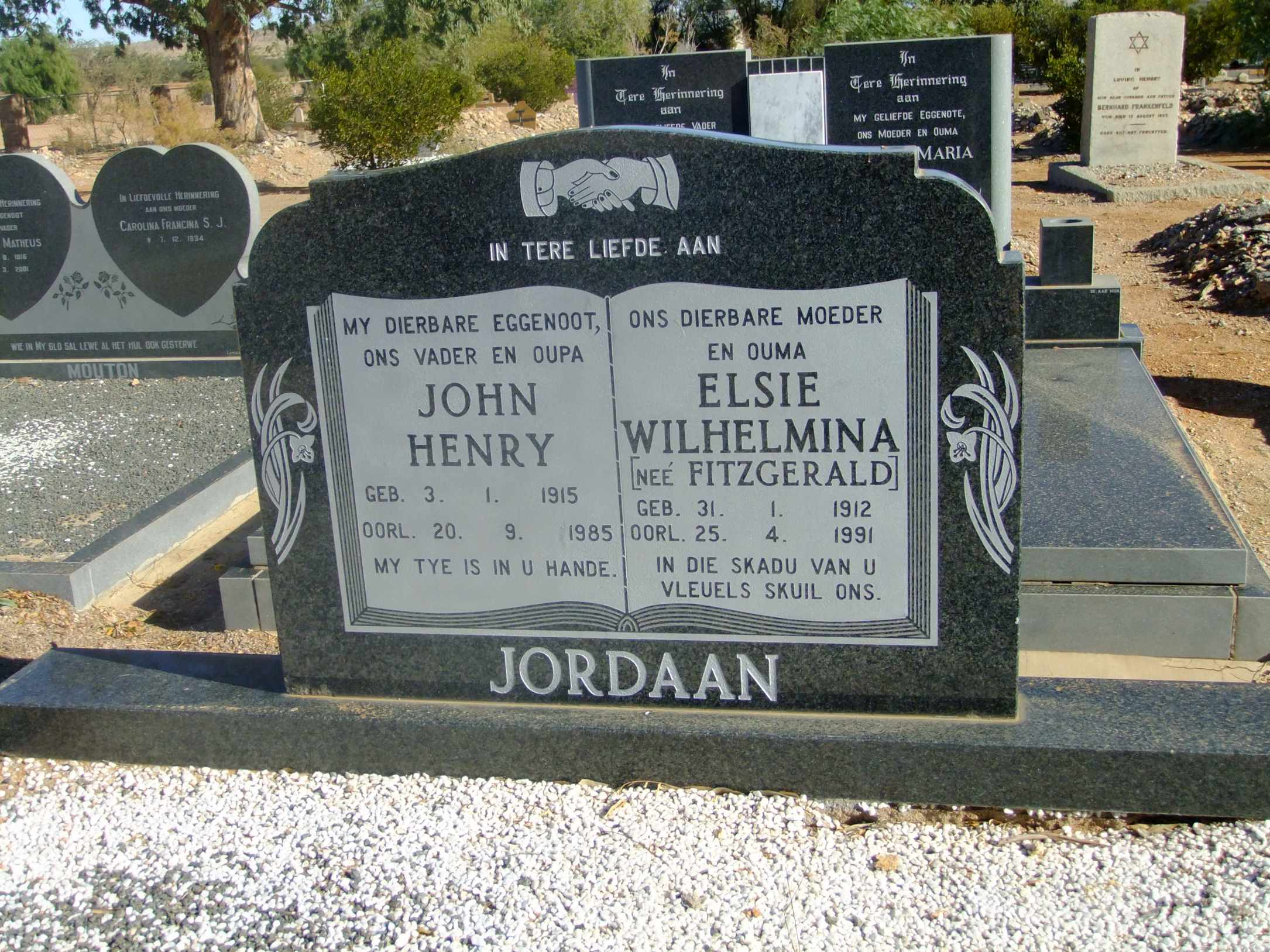 Jordaan, John Henry born 03 January 1915 died 20 September 1985 and Elisie Wilhelmina nee Fitzgerald born 31 January 1912 died 25 April 1991