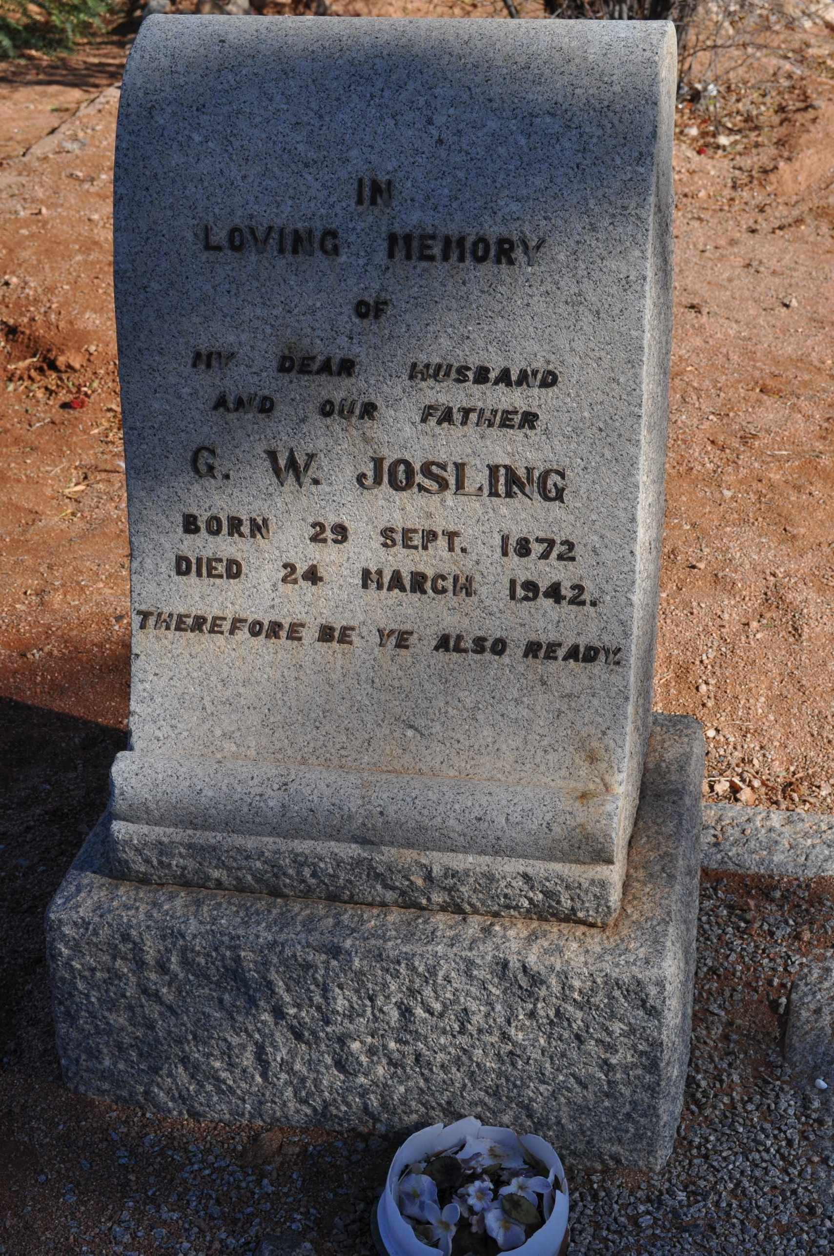 Josling, GW born 29 September 1872 died 24 March 1942