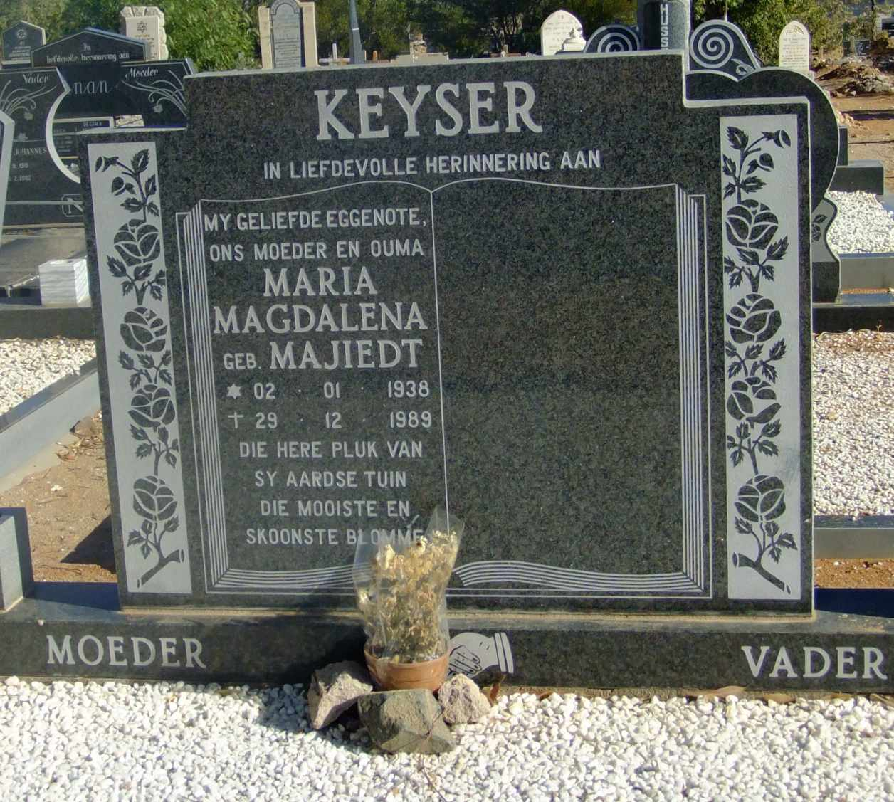 Keyser, Maria Magdalena born Majiedt 02 January 1938 died 29 December 1989