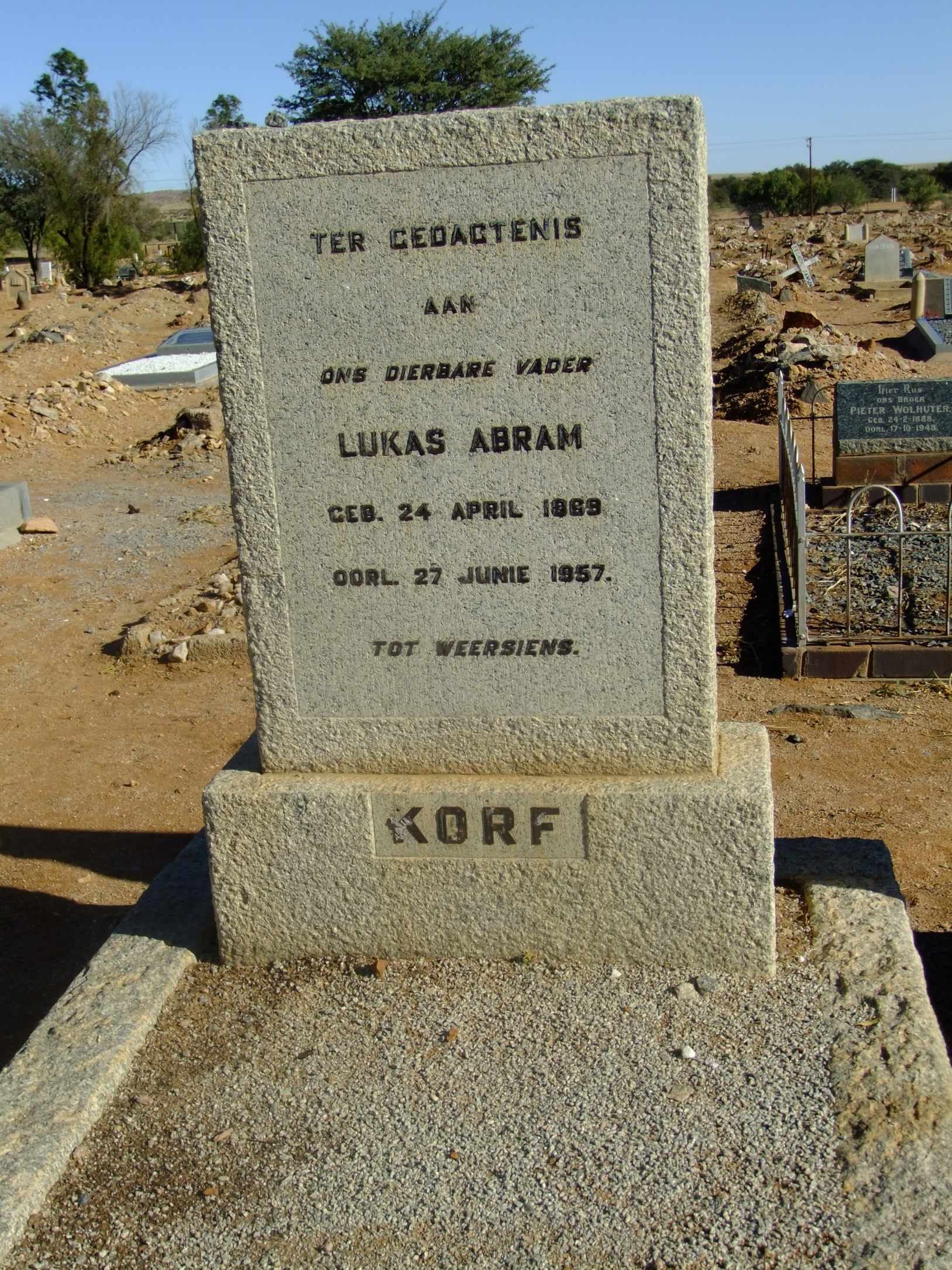 Korf, Lukas Abram born 24 April 1869 died 27 June 1957