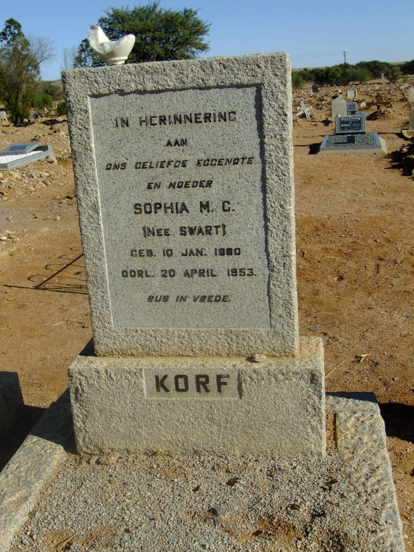 Korff, Sophia MC nee Swart born 10 January 1890 died 20 April 1953