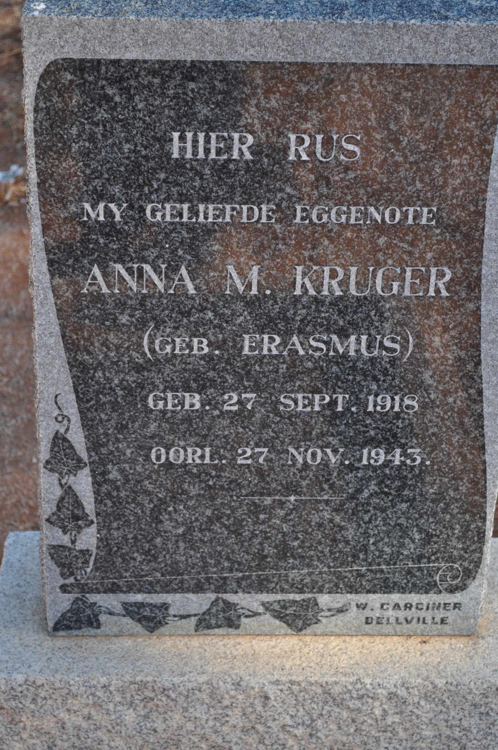 Kruger, Anna nee Erasmus born 27 September 1918 died 27 November 1943