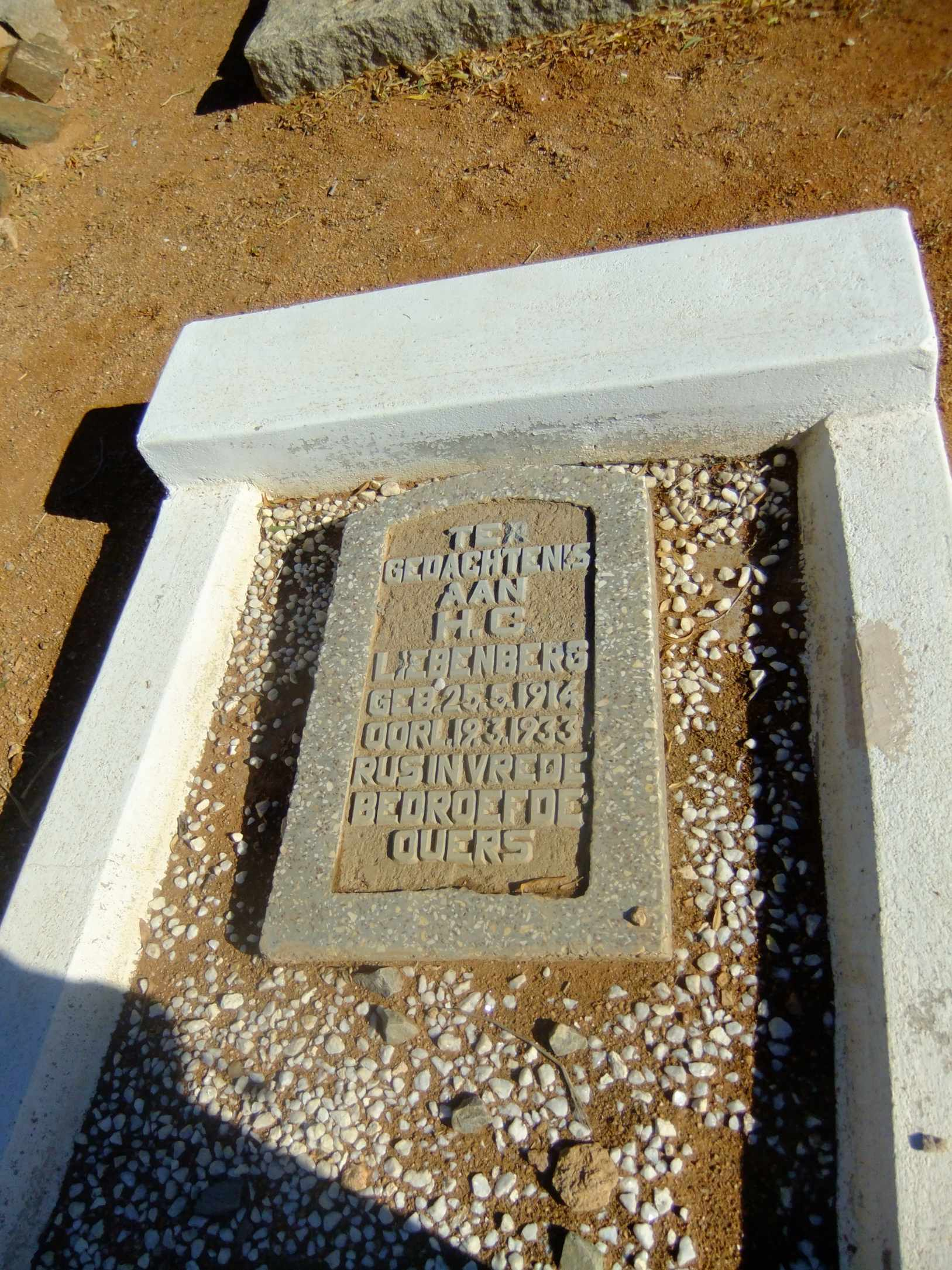 Liebenberg, HC born 25 August 1914 died 12 March 1933