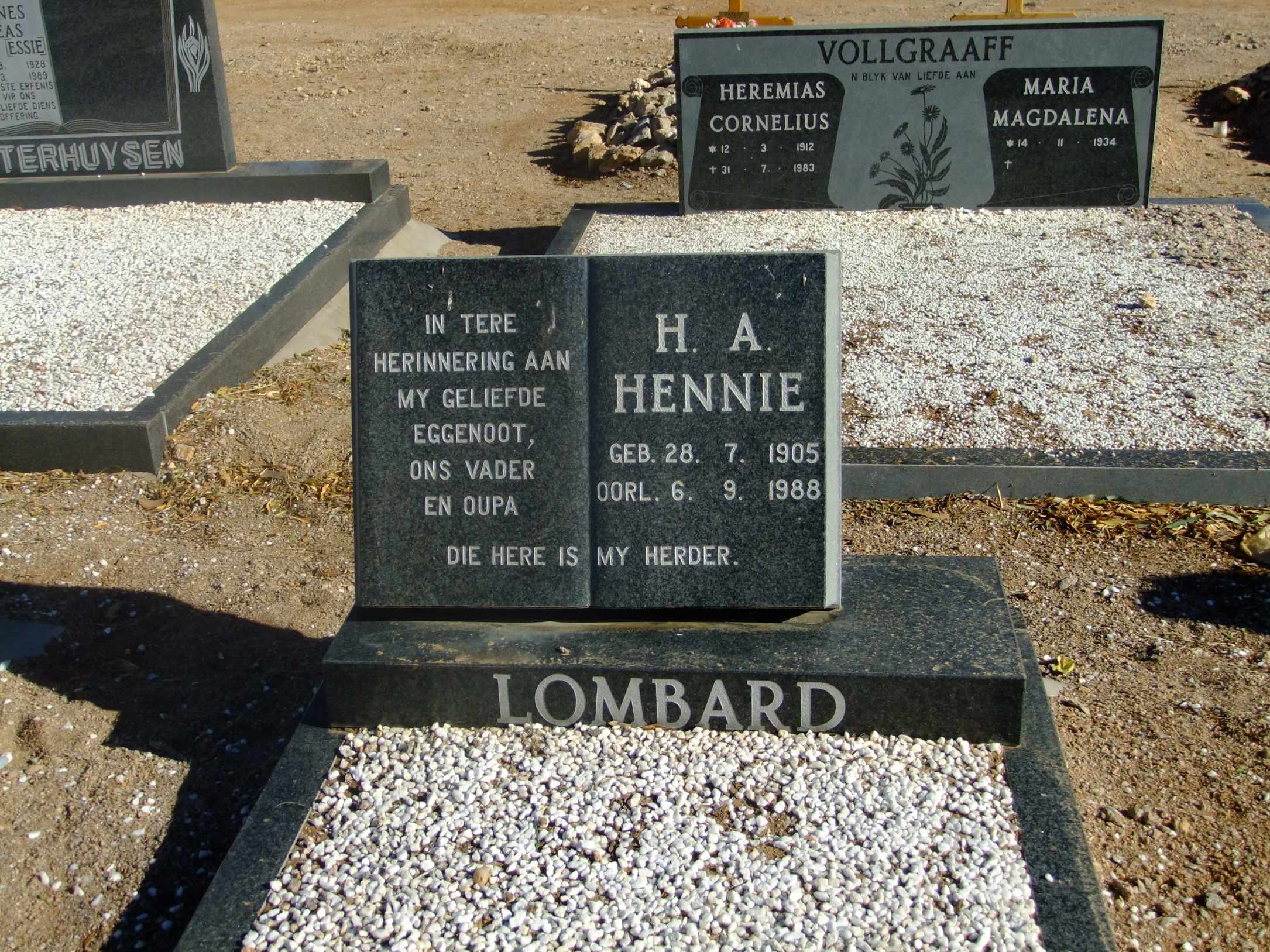 Lombard, Hennie born 28 July 1905 died 06 September 1988