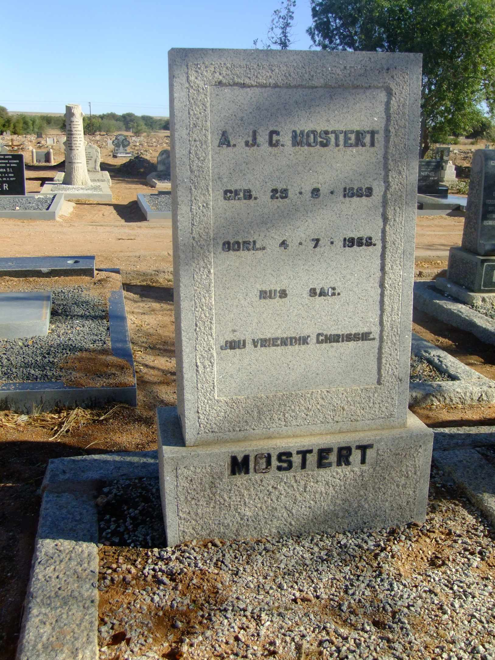 Mostert, AJC born 25 September 1889 died 04 July 1959