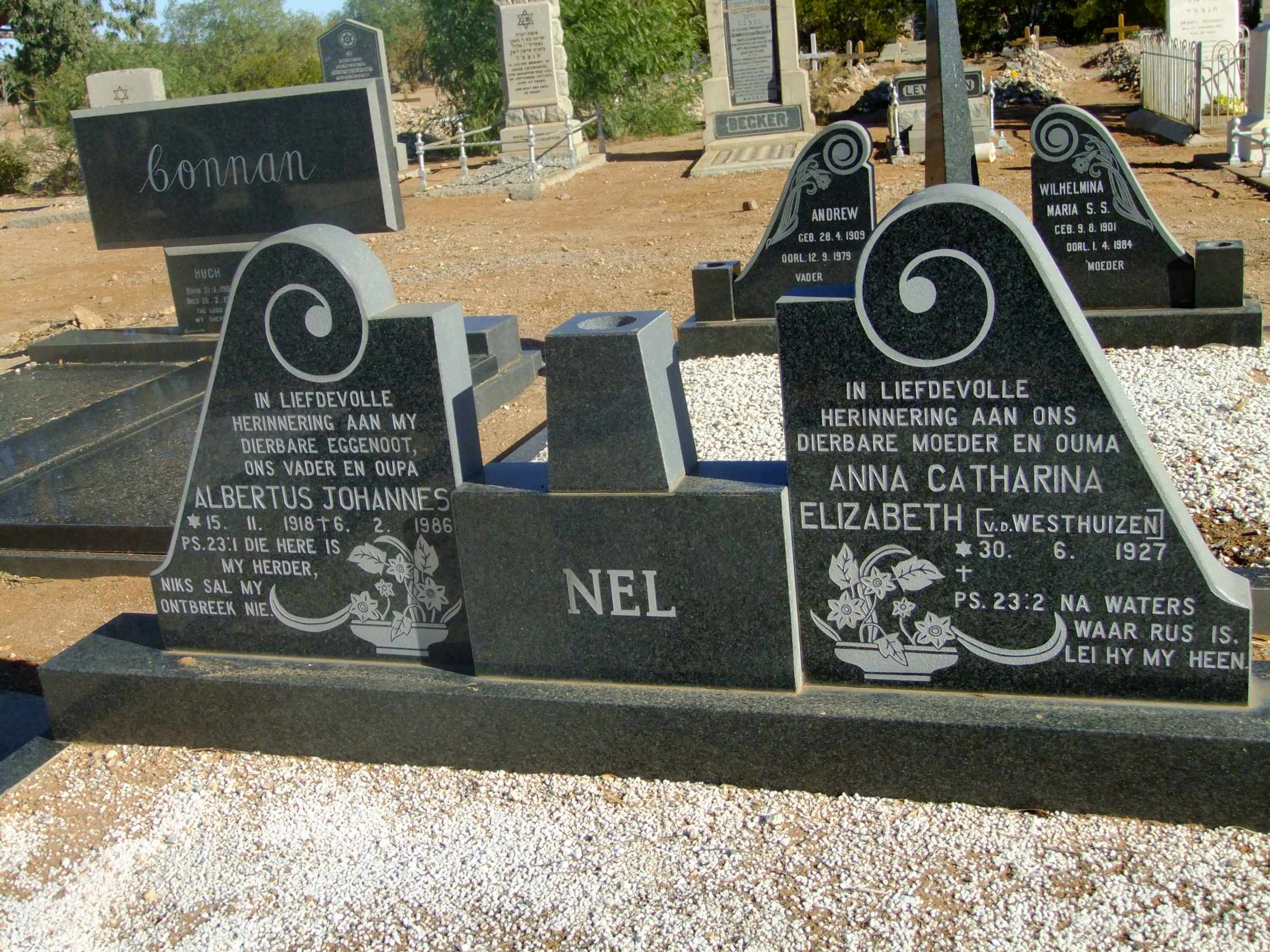 Nel, Albertus Johannes born 15 November 1918 died 06 February 1986 and Anna Catharina Elizabeth nee Van der Westhuizen born 30 June 1927