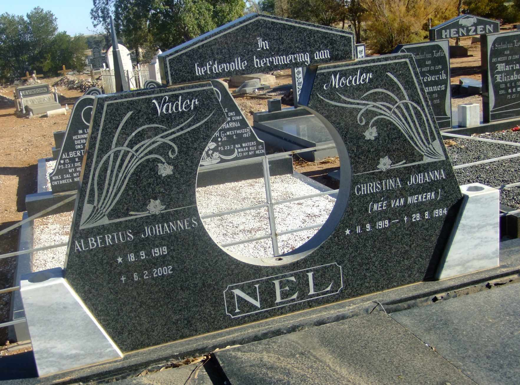 Nel, Albertus Johannes born 18 September 1919 died 06 February 2002 and Christina Johanna nee Van Niekerk born 11 November 1919 dued 28 August 1984