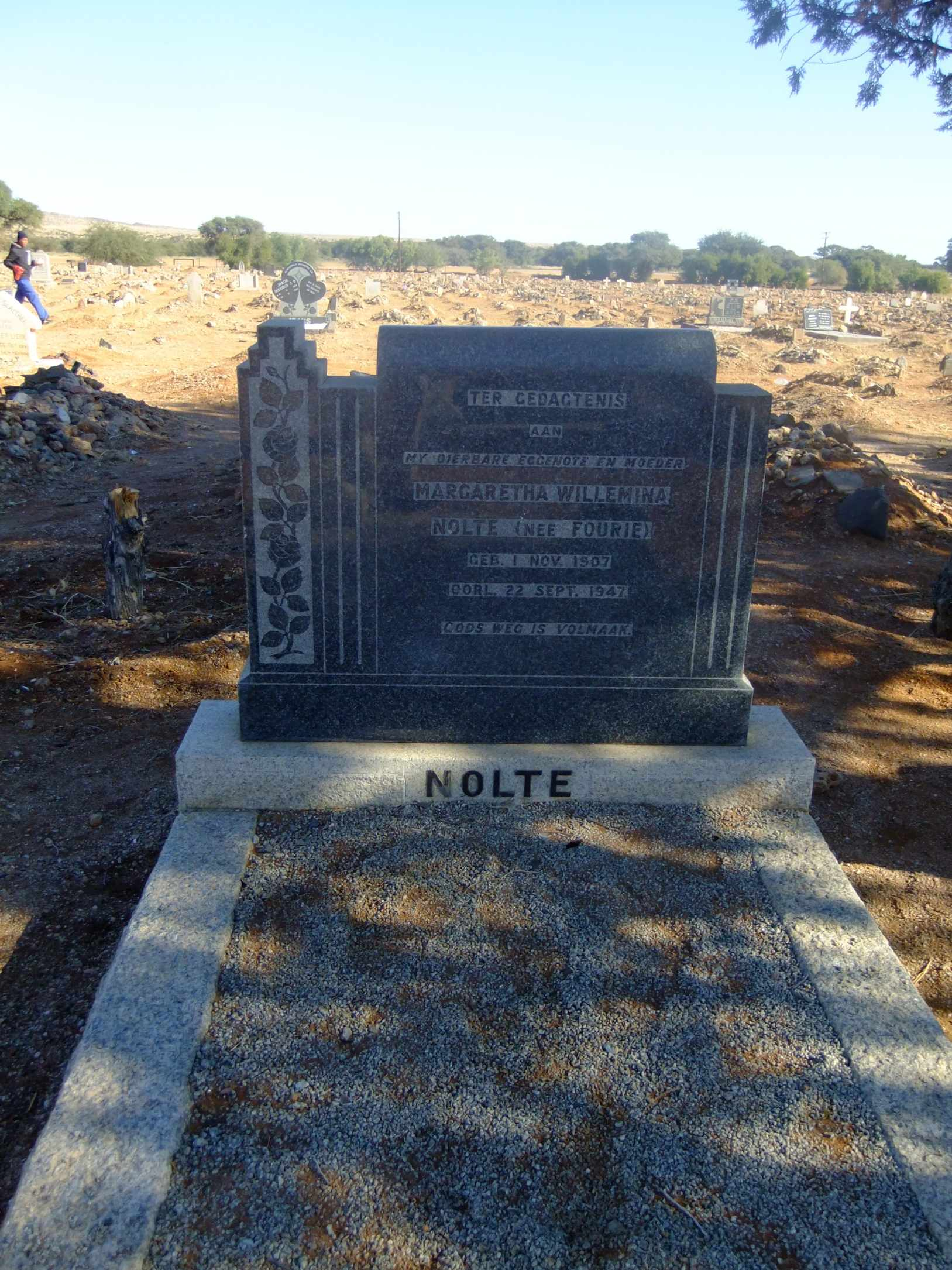 Nolte, Margaretha Willemina nee Fourie born 01 November 1907 died 22 September 1947