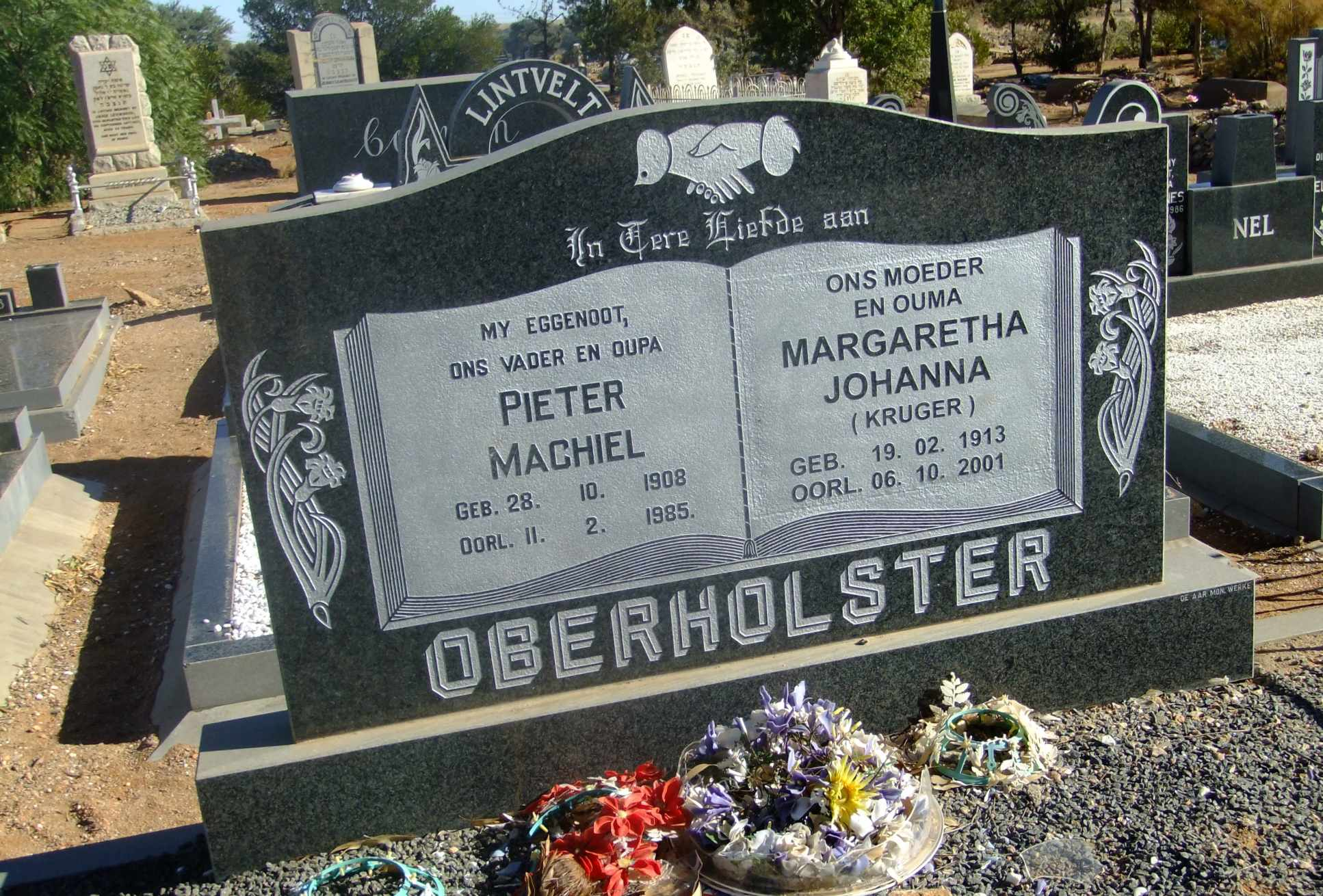 Oberholster, Pieter Machiel born 28 October 1908 died 11 February 1985 and Margaretha Johanna nee Kruger born 19 February 1913 died 06 October 2001