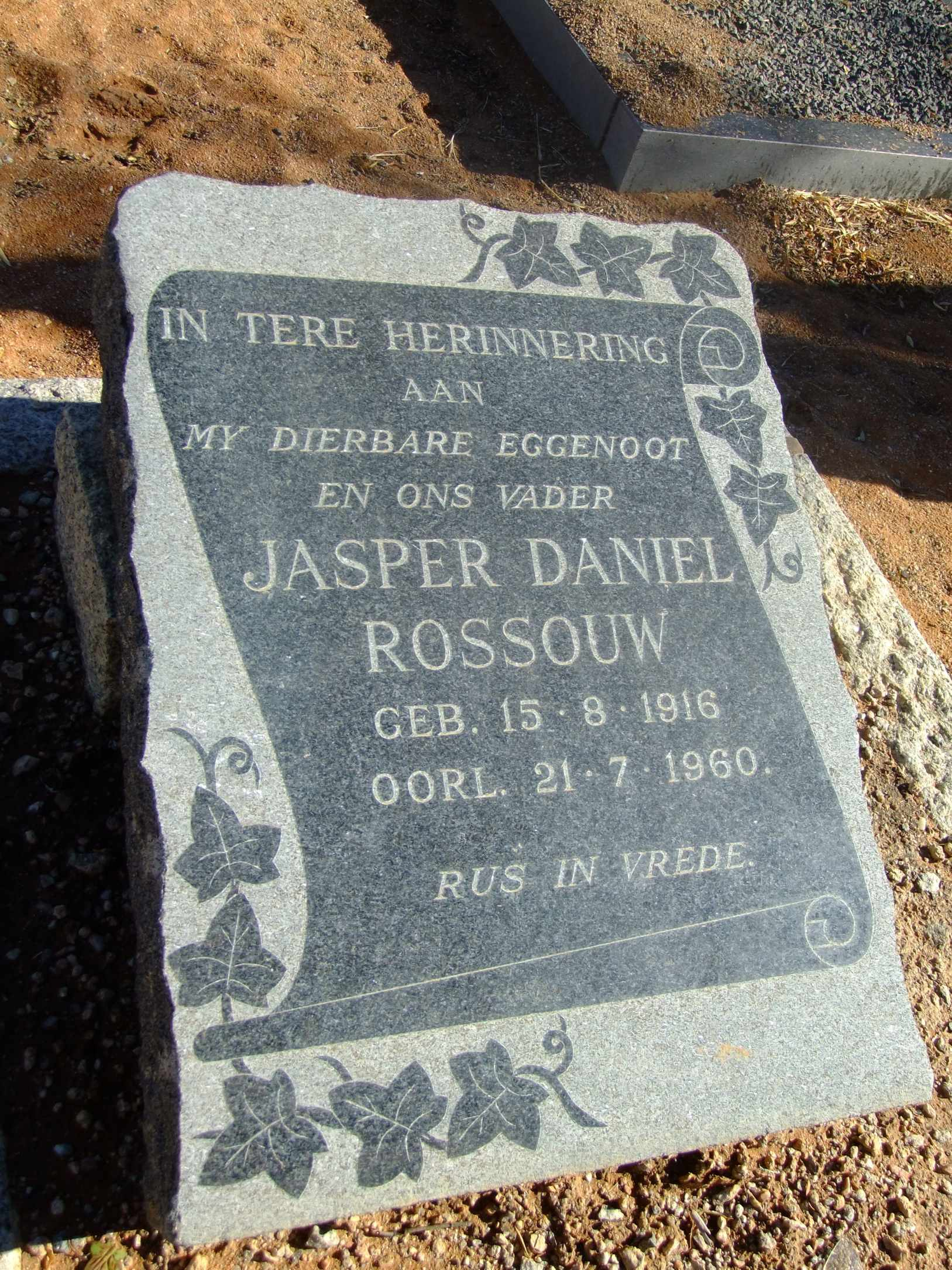 Rossouw, Jasper Daniel born 15 August 1916 died 21 July 1960