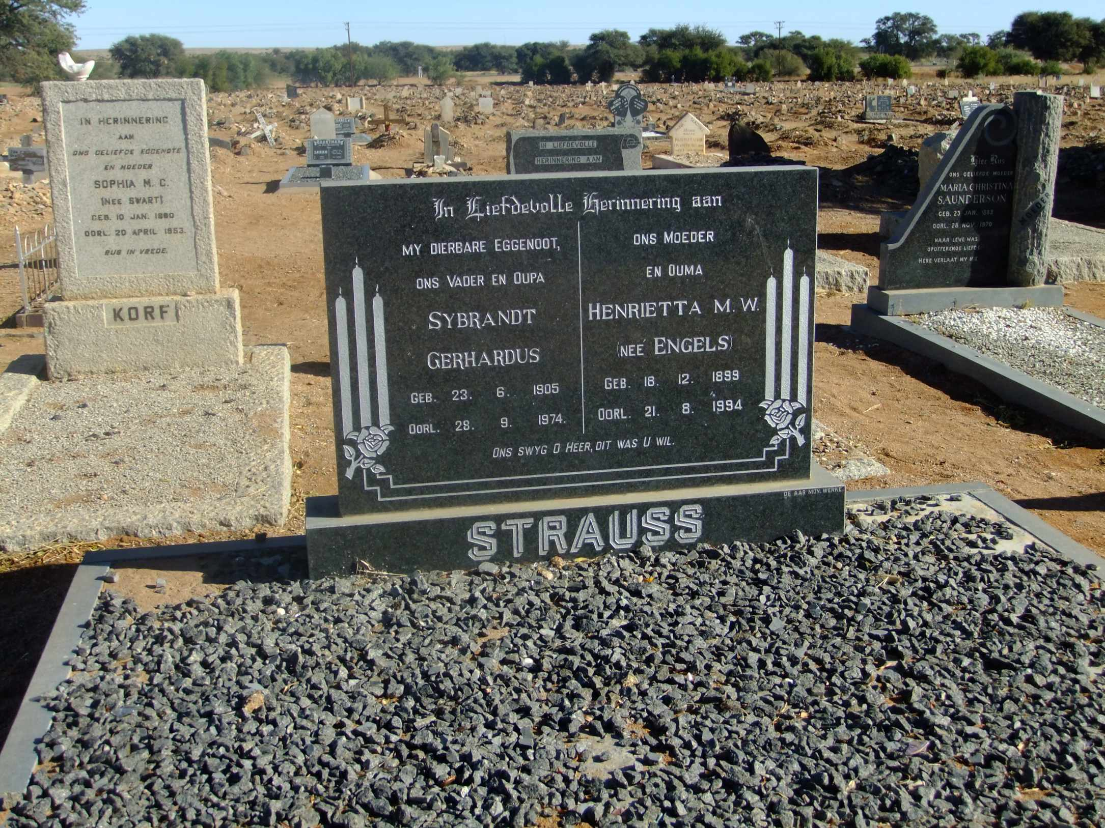 Strauss, Sybrandt Gerhardus born 23 June 1905 died 28 September 1974 and Henrietta MW nee Engels born 18 December 1899 died 21 August 1994