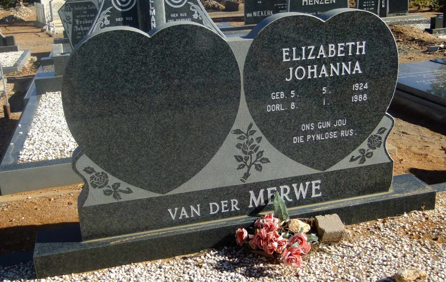 Van der Merwe, Elizabeth Johann born 05 May 192 died 8 January 1988