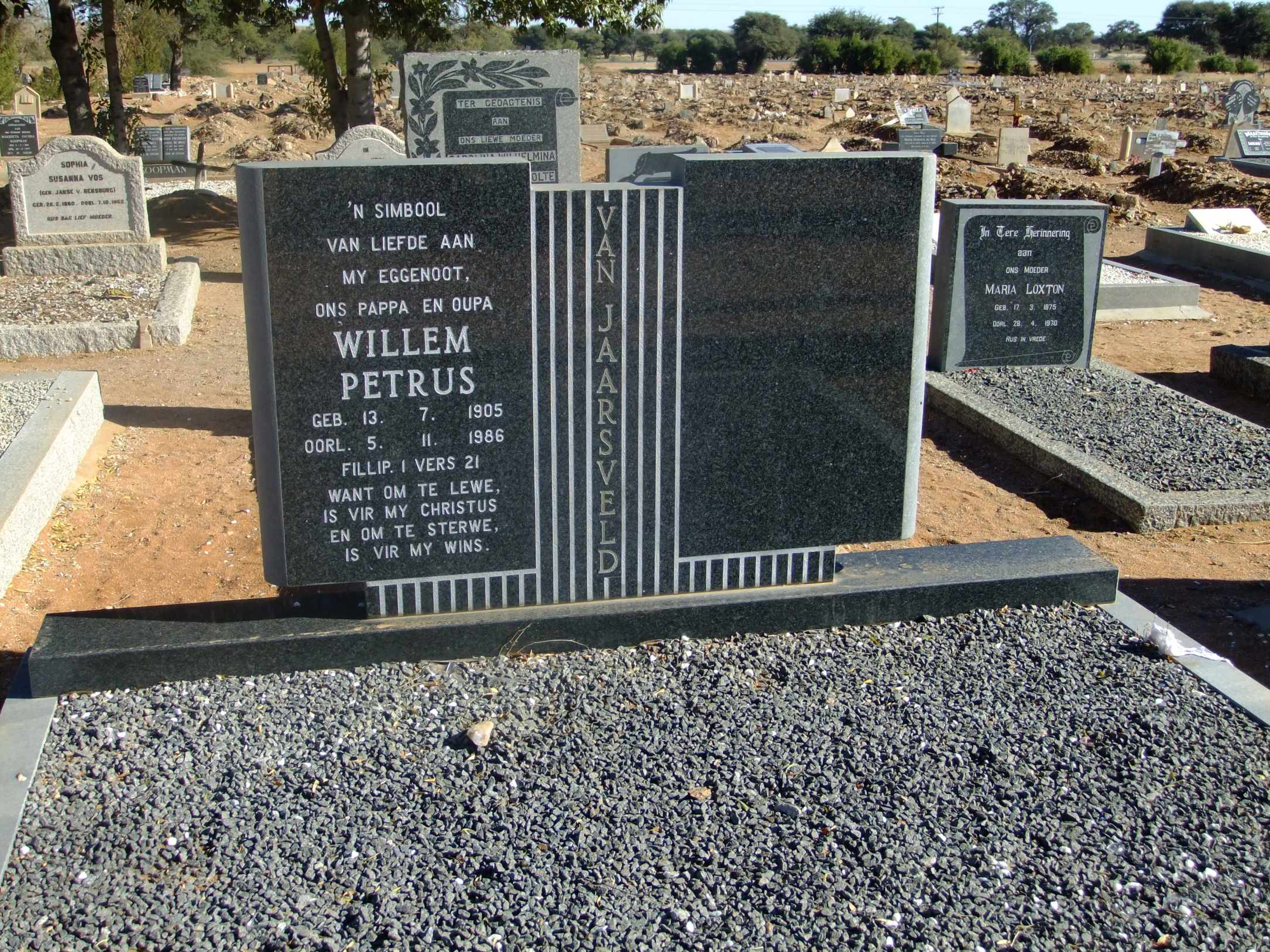 Van Jaarsveld, Willem Petrus born 13 July 1905 died 05 October 1986