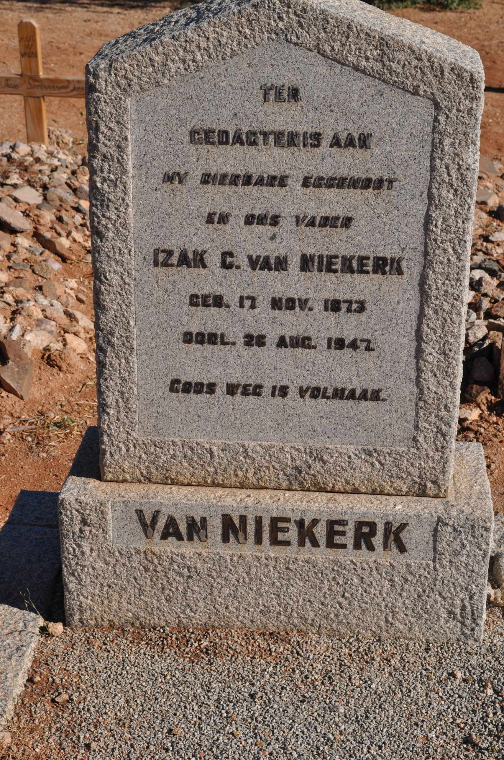 Van Niekerk, Izak C born 17 November 1873 died 26 August 1947