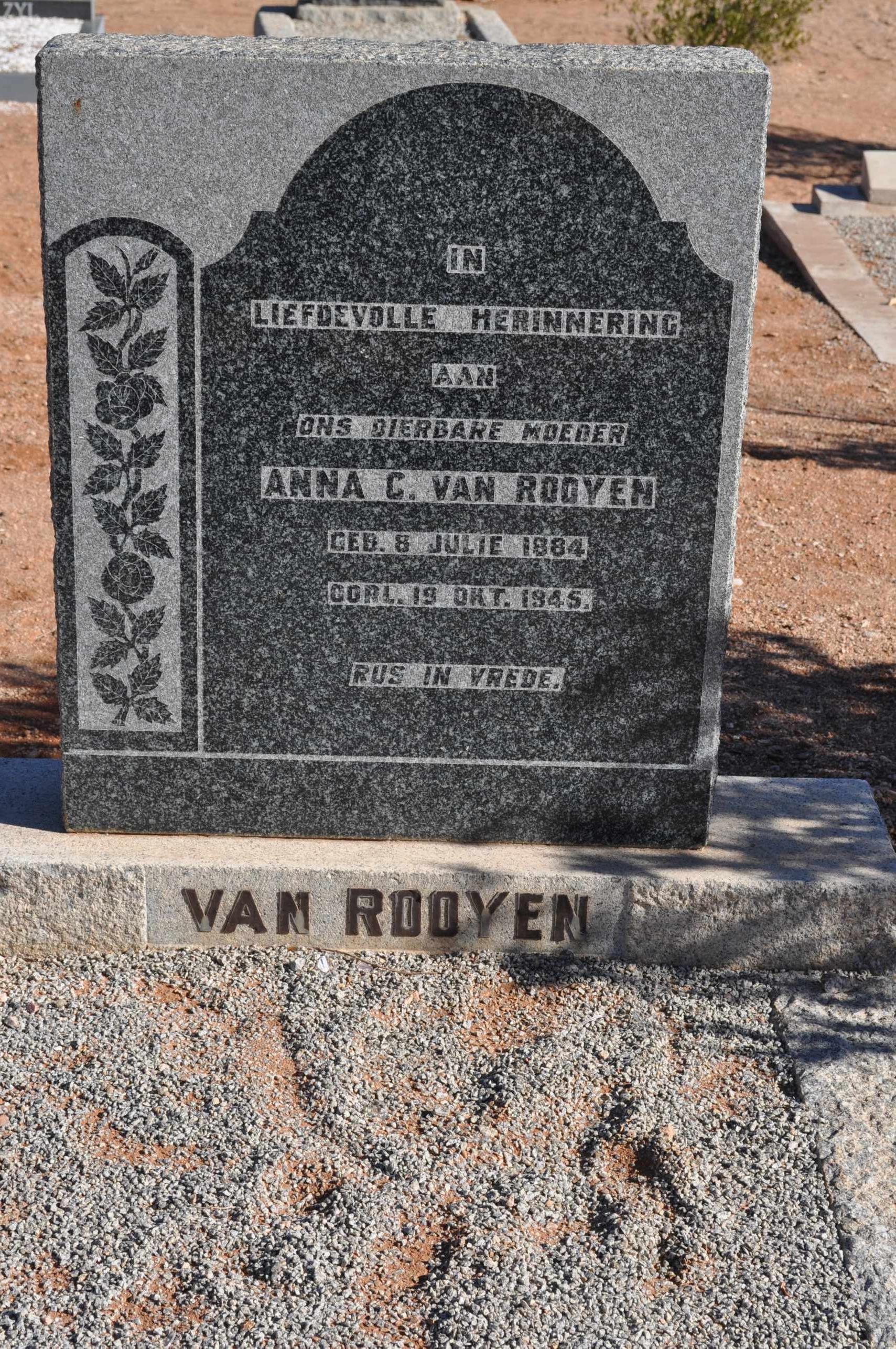 Van Rooyen, Anna born 08 July 1884 died 19 October 1945