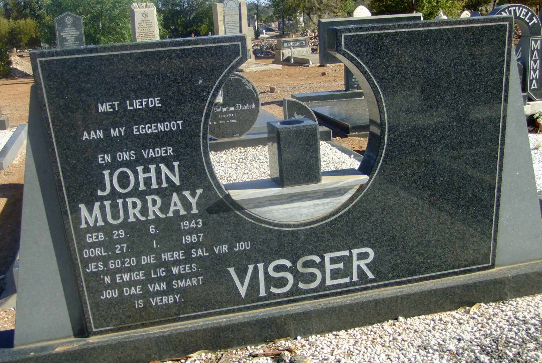 Visser, John Murrary born 29 June 1943 died 27 January 1987