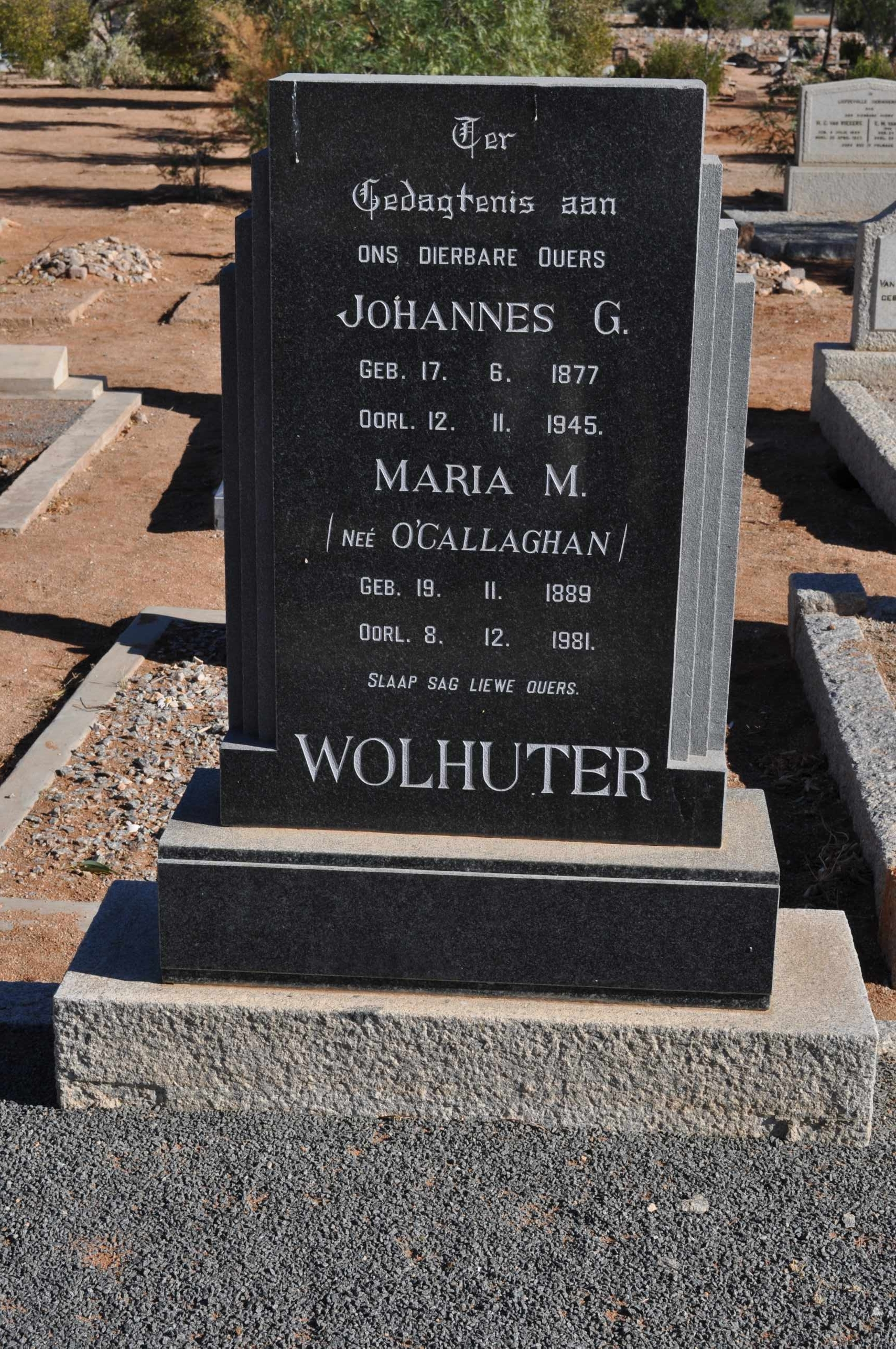 Wolhunter, Johannes G and Maria O'Callaghan