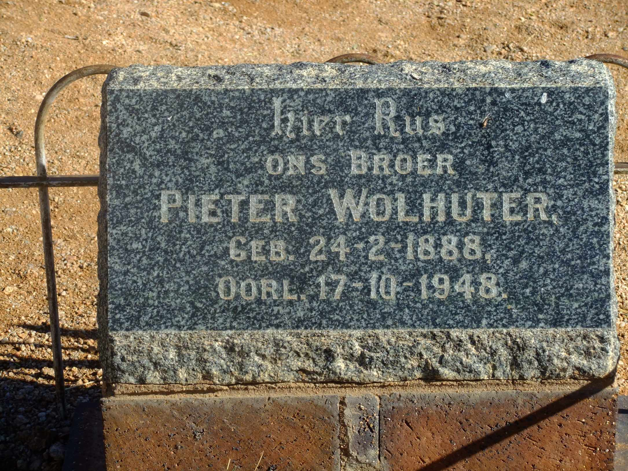 Wolhuter, Pieter born 24 February 1888 died 17 October 1948