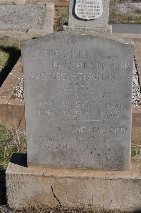 Cerff, Andries Stefanis born 19 September 1886 died 16 November 1962