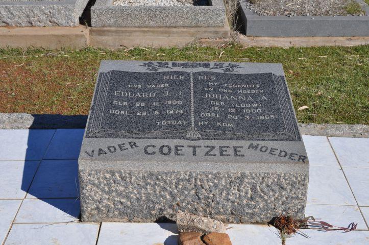 Coetzee, Eduard JJ born 28 November 1900 died 29 May 1974 + Johanna A nee Louw born 16 December 1900 died 20 March 1965