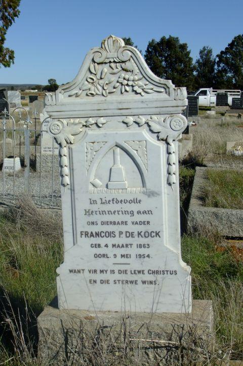 De Kock, Francois P born 04 March 1863 died 09 May 1954