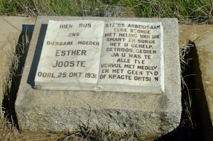 Jooste, Esther died 25 October 1931