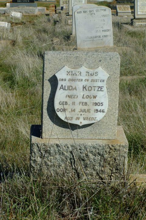Kotze, Alida nee Louw born 11 February 1905 died 14 July 1946