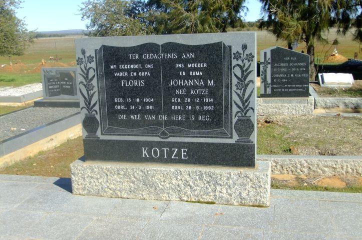 Kotze, Floris born 15 October 1904 died 31 March 1982 + Johanna M nee Kotze born 20 December 1914 died 28 September 1992