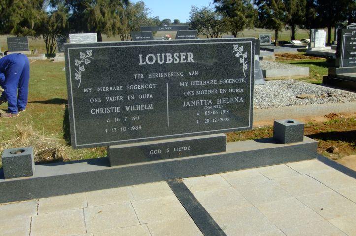 Loubser, Christie Wilhelm born 16 June 1911 died 17 October 1988 + Janetta Helena nee Nel born 05 June 1918 died 28 December 2006