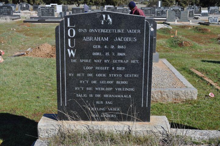 Louw, Abraham Jacobus born 04 December 1883 died 21 July 1969