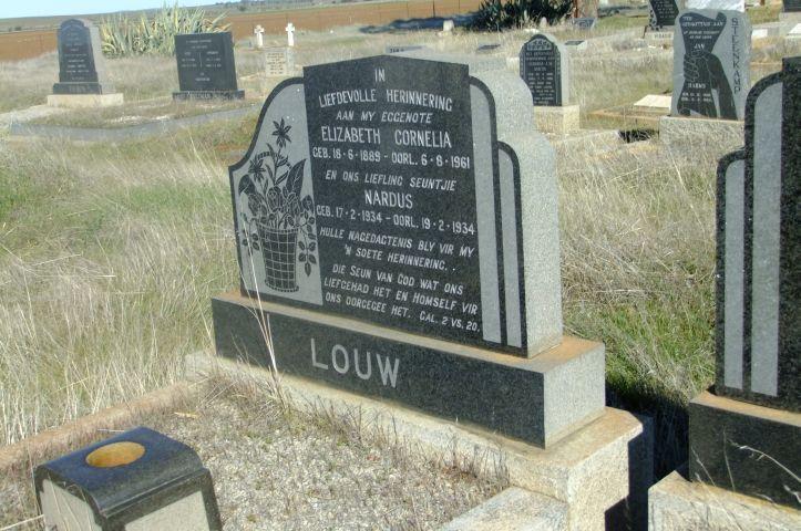 Louw, Elizabeth Cornelia born 18 June 1889 died 06 August 1961 + Nardus born 17 February 1934 died 19 February 1934