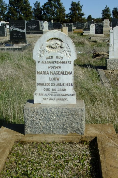 Louw, Maria Magdalena died 23 July 1938 aged 80 years
